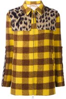 No.21 panelled checked coat