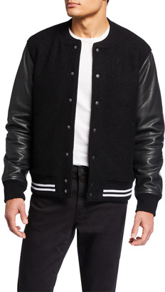 Joe's Jeans Men's Leather-Sleeve Varsity Jacket