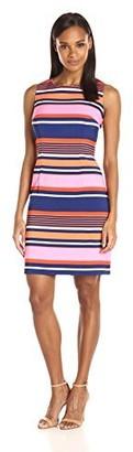 Ronni Nicole Women's Slevless Stripe Sheath Dress Pink/Navy 14