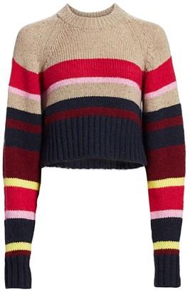Current/Elliott Moonshine Striped Wool-Blend Crop Sweater