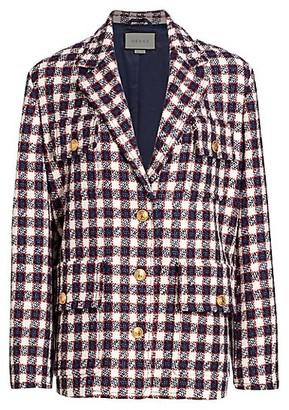 Gucci Lightweight Tweed Plaid Swing Jacket