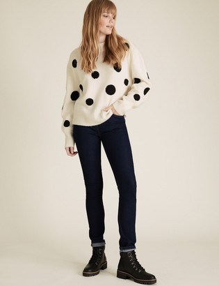 Marks and Spencer Polka Dot Crew Neck Relaxed Jumper