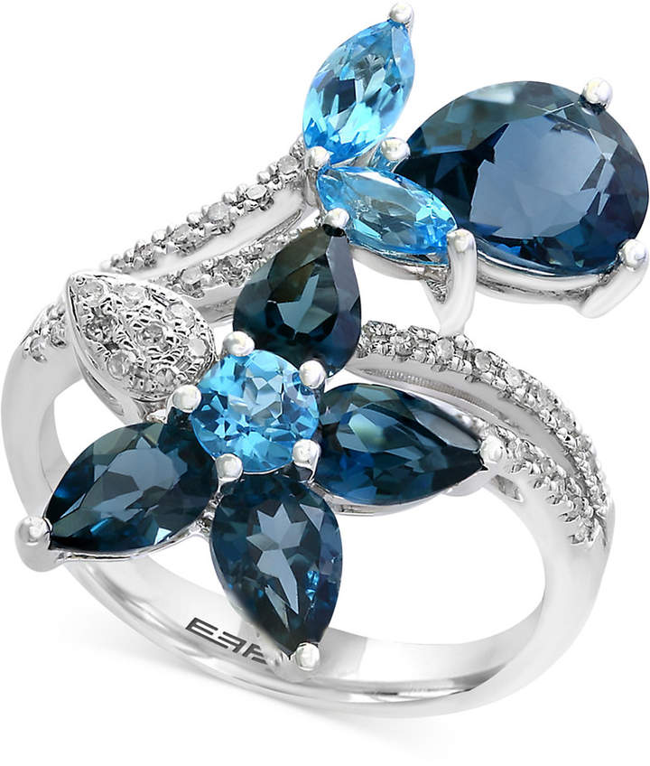 Effy Ocean Bleu by Blue Topaz (5-1/3 ct. t.w.) and Diamond (1/5 ct. t.w.) Flower Ring in 14k White Gold