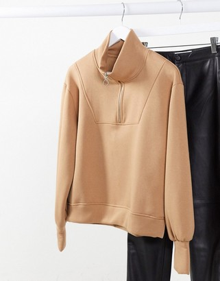 Object zip detail sweatshirt in beige