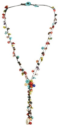 Aeravida Handmade Cotton Rope Multi strand Stone Tassel Necklace