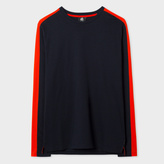 Paul Smith Men's Navy Organic-Cotton Long-Sleeve T-Shirt With Red Side-Stripes
