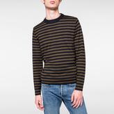 Paul Smith Men's Navy And Khaki Stripe Merino-Wool Sweater