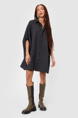 Nasty Gal Womens Batwing It On Oversized Shirt Dress - Black
