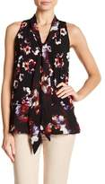 Ellen Tracy Tie Neck Sleeveless Blouse