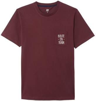 La Redoute Collections Cotton Round Neck T-Shirt with Slogan Printed Chest Pocket