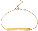 Dogeared 14ct Gold Plated Sterling Silver Always Engraved ID Tag Chain Bracelet, Gold