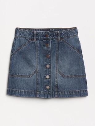 Gap Kids Denim Button-Front Skirt