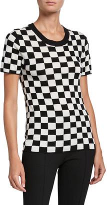 Rosetta Getty Checkered Silk-Cashmere Short-Sleeve Sweater