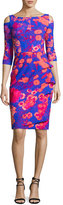 La Petite Robe di Chiara Boni Stefania Floral Cold-Shoulder Cocktail Dress, Fuchsia/Blue