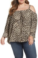 Vince Camuto Plus Size Women's Leopard Song Cold Shoulder Blouse