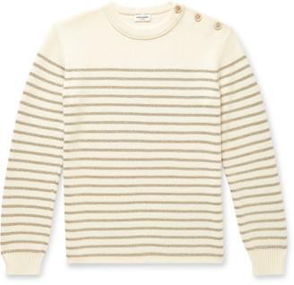 Saint Laurent Slim-Fit Metallic Striped Knitted Sweater