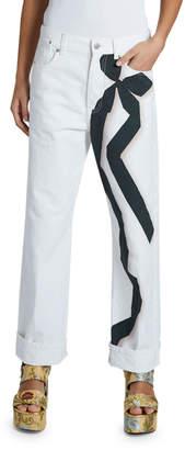 Dries Van Noten Piscos Bow-Print Jeans