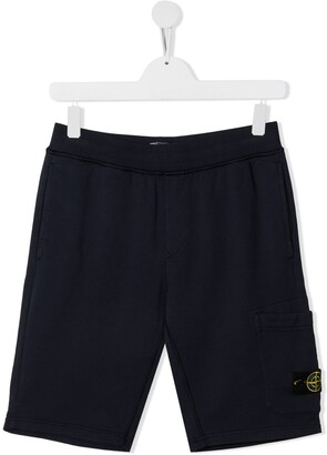 Stone Island Junior TEEN logo patch track shorts