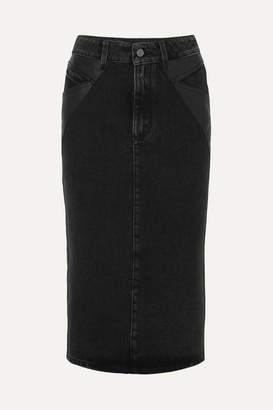 Givenchy Leather-paneled Denim Midi Skirt - Black
