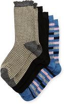 Neiman Marcus Three-Pair Wardrobe Sock Set, Assorted Gray Black