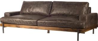 """Mercana Home Colburne II 96"""" Brown Leather Three Seater Sofa - 96.0L x 40.5W x 32.0H"""