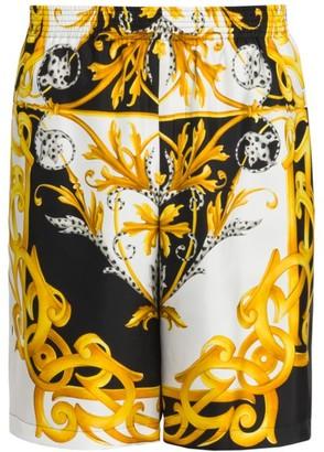 Versace Baroque Print Silk Shorts