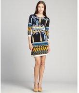 Ali Ro marigold printed stretch jersey 3/4 sleeve dress
