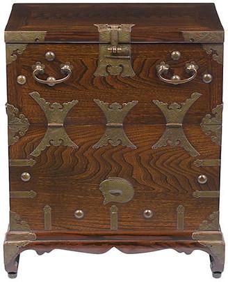 One Kings Lane Vintage Asian Brass Decorative Chest - Castle Antiques & Design - brown/gold