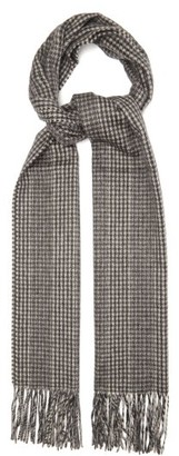 Saint Laurent Houndstooth-jacquard Fringed Cashmere Scarf - Black White