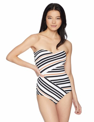 Jets Women's Vista Stripe Bandeau One Piece Swimsuit