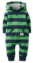 Carter's Hooded French Terry Romper in Green/Navy