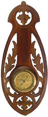 One Kings Lane Vintage French Brass & Carved Wood Barometer - Chez Vous
