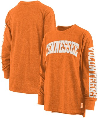 Women's Pressbox Tennessee Orange Tennessee Volunteers Plus Size Two-Hit Canyon Long Sleeve T-Shirt