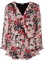 Joie Ellar Lace-Trimmed Wrap-Effect Printed Silk Crepe De Chine Playsuit