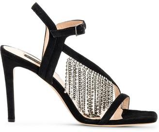 Pinko Crystal Fringe Heeled Sandals
