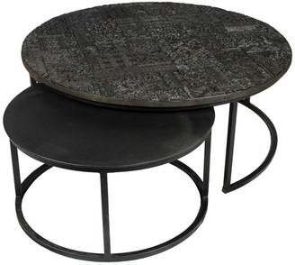 Moti Orlando Ingram Nesting Cocktail Tables, Iron w/ Acid Etched Pattern on