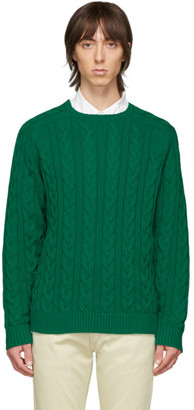 Beams Green Cable Knit Sweater