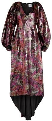 Halpern Embellished Blouson-Sleeve Gown