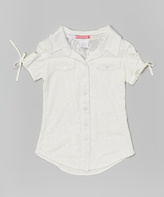 White Floral Lace Button-Up - Girls