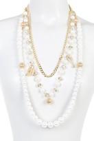 Natasha Accessories Multi-Strand Faux Pearl Chain Charm Necklace