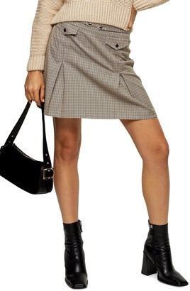 Topshop Archive Check Pleat Miniskirt