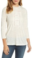 Lucky Brand Women's Embroidered Eyelet Trim Top