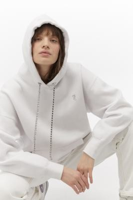 Juicy Couture Holly Diamante Tie Hoodie - White XS at Urban Outfitters