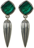 Lagos Sterling Silver Malachite Crystal Fluted Drop Earrings