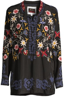 Johnny Was Mariposa Floral-Embroidered Silk Blouse