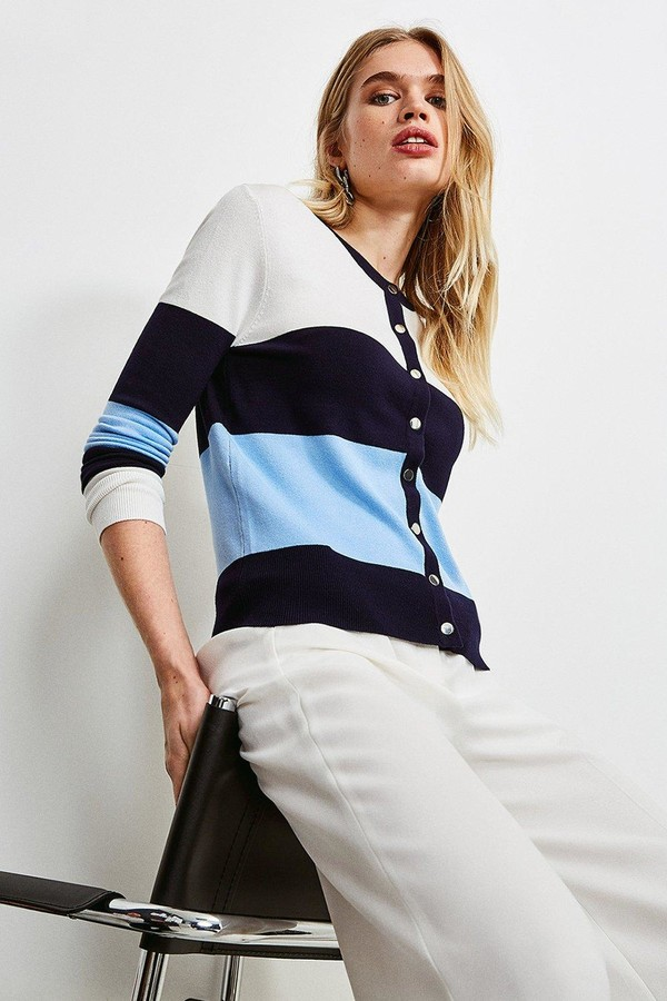 Karen Millen Colour Block Knitted Cardigan