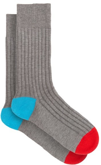 Pantherella Mens Portobello Contrast Heel and Toe Socks Navy