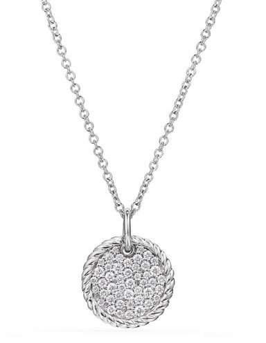 David Yurman 18k Cable Collectibles Diamond Plate Pendant Necklace