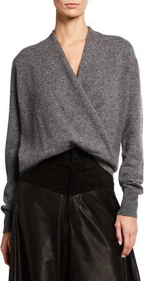 Neiman Marcus Solid Faux Wrap Cashmere Top
