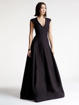 Halston Cap Sleeve V Neck Silk Faille Gown
